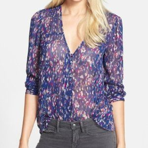 Joie Purple Calvina Silk Sheer Blouse
